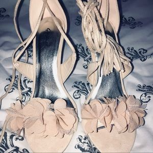 Shoes - Lace up nude heels